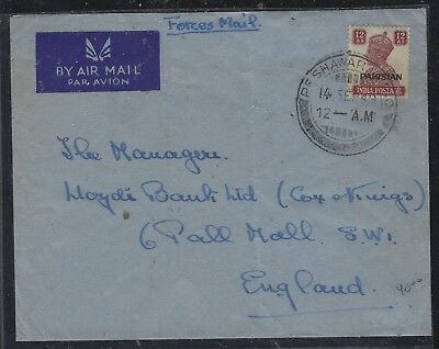 Pakistan  (P3010Bb)  Kgvi 12A Forces Mail 1949 Peshawar To England A/M