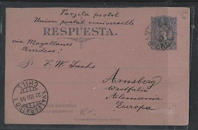 Chile  (Pp2601B) 1893 Columbus 3C Psc  Santiago To Germany