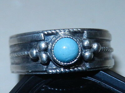 Rare Soviet VTG old Russian Sterling SILVER 916 USSR Ring Size 7.5 turquoises