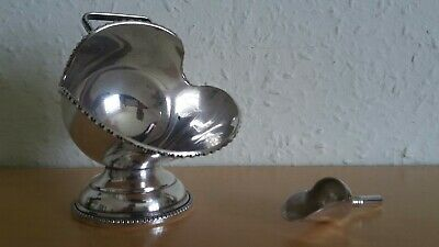 Vintage Hand Engraved Silver Plated Sugar Scuttle