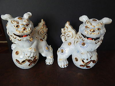 Pair of FOO DOGS - Toyo PORCELAIN : with Sticker