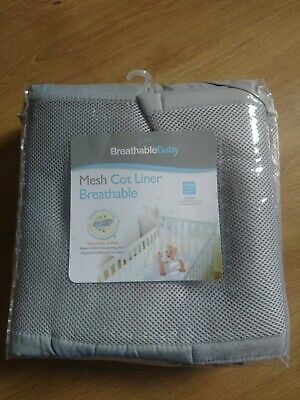 Brand new mesh cot liner, breathable baby, grey 4 sided full wrap
