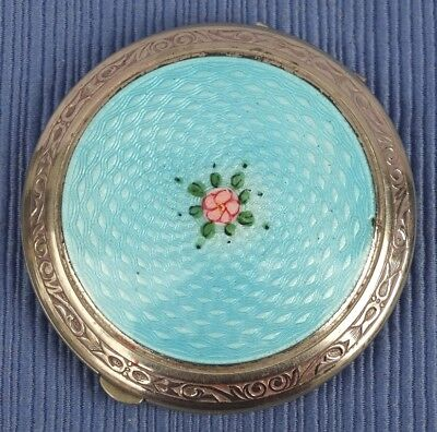 Art Deco Elgin American Silver Plate Compact Guilloche Blue with Red Rose