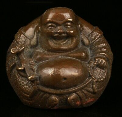 Chinese Bronze Hand Carving Maitreya Statue Gift Collection Decoration