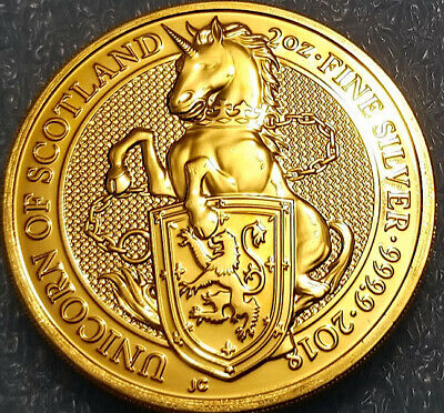 2018 Great Britain 2 oz Silver Queen's Beast Unicorn of Scotland 24k Gold Gild.F
