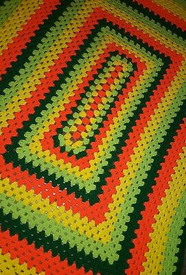 Vintage HANDMADE FLUORESCENT Crocheted QUILT Blanket Throw Hippie Boho Fringed