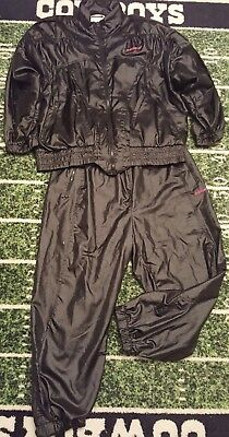 RARE VINTAGE Women's ADIDAS 80's Black Shiny Sweatsuit Pants Jacket (LARGE)