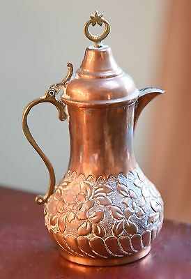 "Older Vintage Copper Ewer Brass Accents Floral Engraving Star Pull 6"" H"