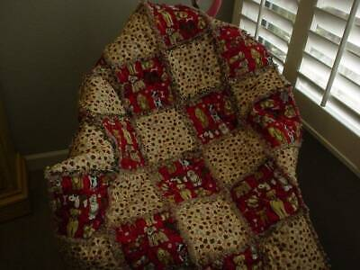 Puppy Dogs ~ Baby/Toddler ~ Rag Quilt ~ Red ~ Tan ~ Boutique Baby