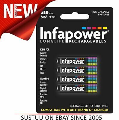 Infapower Longlife Rechargeable AAA Ni-Mh Piles pour 650mah - Paquet de 4