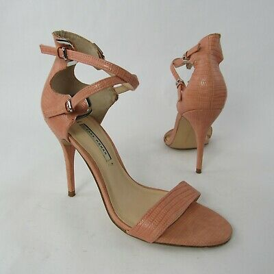 4644541d01a Zara Woman Size 39 EUR 8 US High Heel Mules Sandals Party Buckled Strap  Textured