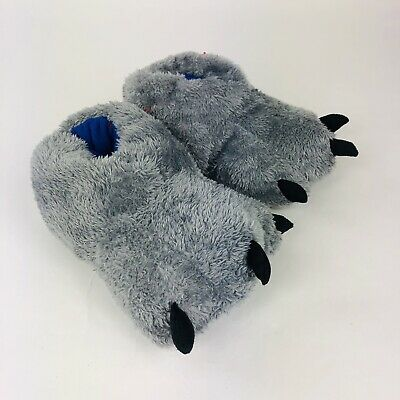 Cat And Jack Toddler Boys Gray Claw Slippers Sz L 4T-5T New