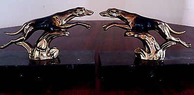 Dog Bookends - Leaping Greyhounds - Art Deco