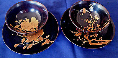 Vintage (Showa) Japanese Lacquer Black & Gold Matching Bowls and Plates (2 Sets)