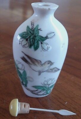 Qing Porcelain Snuff Bottle - Bird in Flight