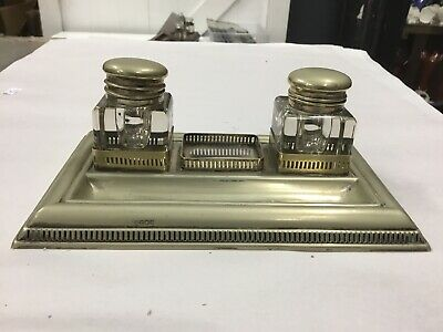 Vintage Antique Epns Silver Plate Desk Inkwell Crystal Ink Well Quill Holder Pen