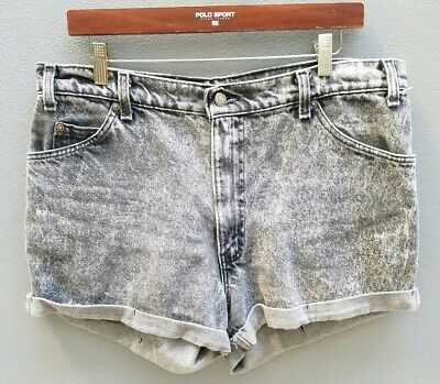 VINTAGE LEVI'S Shorts Size 14 Womens Black Denim Cuffed High-Waisted 80s 90s 🔥