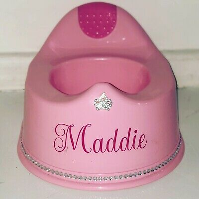 Personalised Potty Toddler Diamante Crown Pink Any Name Bling Princess