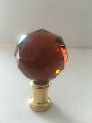 Amber 40Mm Crystal Ball & Brass Lamp Finial