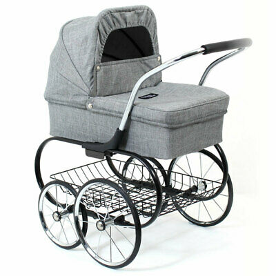Valco Baby Royale Dolls Pram/Stroller Kids 3y+ Pretend Role Play Toys Grey Marle