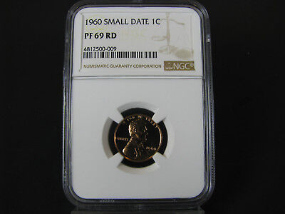 1960 P Small Date Lincoln Cent Memorial Back NGC Pf 69 Red,  Bright Red Color
