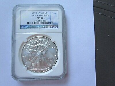 2013 Silver American Eagle – 1 Ozt. - Early Releases - Ngc Slabbed – Ms70