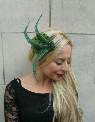 Green Black Pheasant & Peacock Feather Fascinator Hair Clip Races 1920s 7143
