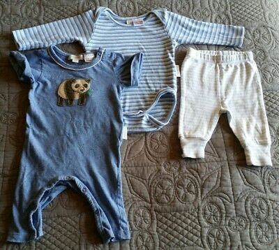 3 x Purebaby baby boy clothes 0-3 Months 000 growsuits pants