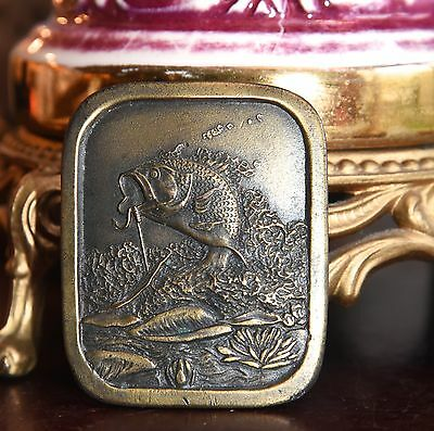 Belt Buckle Indiana Metal Craft 1976 Vintage Solid Brass Large Mouth Bass Lily