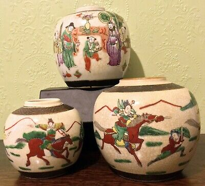 3x Antique Japanese Chinese Ginger Jars Domestic & Horse Warrior Scenes Signed