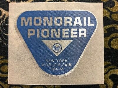 RARE BLUE MONORAIL PIONEER AMF Souvenir Sticker 1964 1965 New York World's Fair