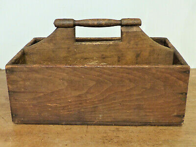 Antique 19th C Wood TALL Box TRAY Carrier TOTE Dry Surface NICE PATINA Nice Form