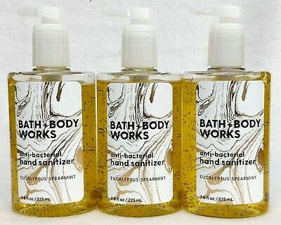 3 Bath & Body Works EUCALYPTUS SPEARMINT Antibac Hand Sanitizer Pump 7.6 oz