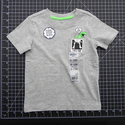 Oshkosh Boys T Rex Ray Roar Gray Tee NWT New 9 12 month Dinosaur Short Sleeve