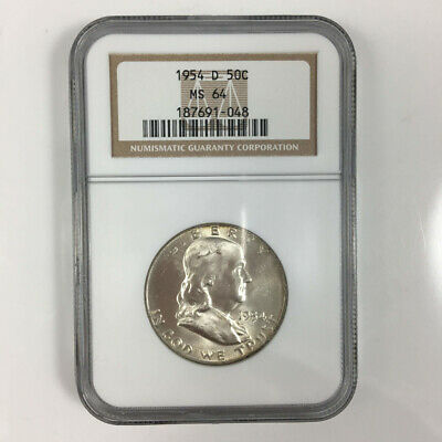1954 D NGC MS64 50C Franklin Half Dollar Uncirculated Certified Coin