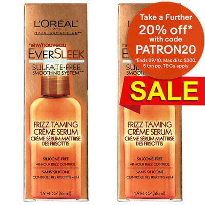 2PK L'Oreal Ever Sleek Sulfate Free Anti Frizz Argan Oil Smooth Hair Serum Creme