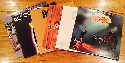 Very Nice Lot Of 6 AC/DC Vinyl LPs, Dirty Deeds, Powerage, FREE SHIPPING