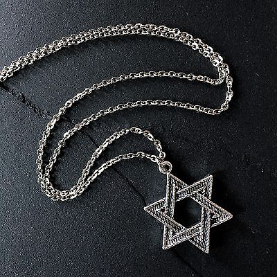 "Silver Star of David Necklace on 24"" Stainless Steel Chain--Jewish / Hanukkah"