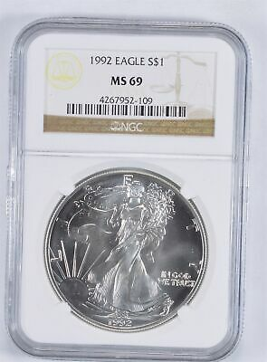 MS69 1992 American Silver Eagle - Graded NGC *891