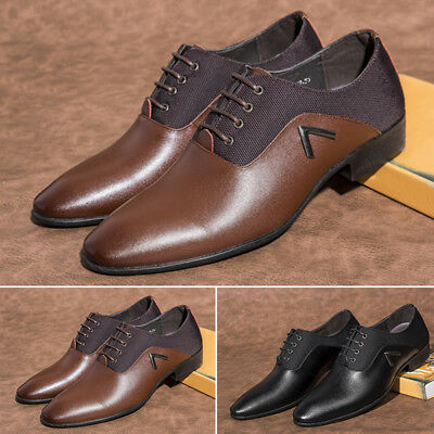 Mens Stylish Oxford Shoes Casual Comfy Business PU Leather Shoes Solid Soft Sole