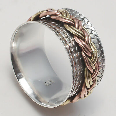 Solid 925 Sterling Silver Spinner Ring Meditation Ring Statement Ring Size srR08