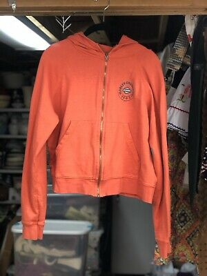 Harley Davidson Orange Hooded Sweatshirt Johnstown PA Women's Size Medium