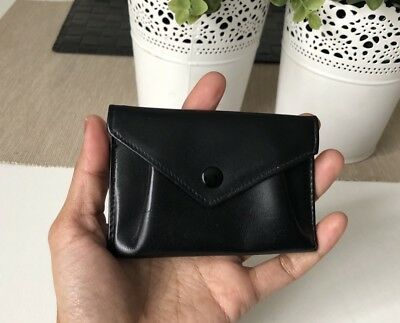 Vintage Leather Purse Wallet coin Bag Clip Closure Black Colour Hipster Used