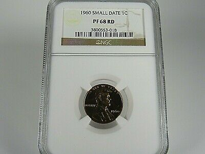 1960 P Small Date Lincoln Cent Memorial Back NGC Pf 68 Red,  Bright Red Color