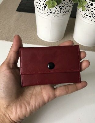 Vintage Leather Purse Wallet coin Bag Clip Closure Red Colour Hipster Used