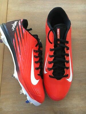 newest 0072e a4a40 Nike Lunar Vapor Pro Metal Baseball Cleats Orange Black Size 12.5 (683895 -810)