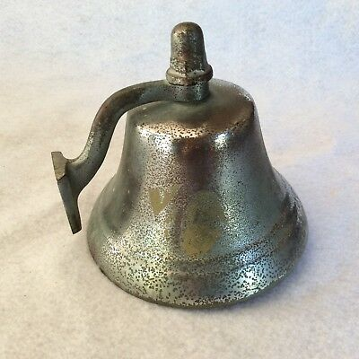 Vintage Nickel Plated Nautical Maritime Wall Mount Ship Bell Dinner Bell