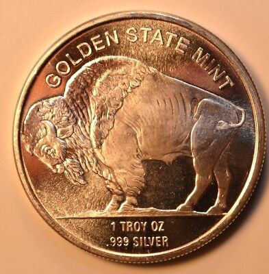 Golden State Mint Buffalo 1 troy oz  .999 fine silver round Gem BU condition