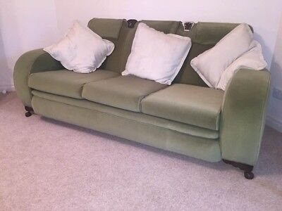 Club Lounge Suite, Vintage, Green suede 3 piece. c.1930s