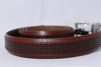 "Allen Edmonds Men's Chili ""Woven Inlay"" Dress Belt Solid Brass Buckle sz 52"